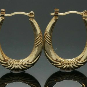 9Ct-Yellow-Gold-Patterned-Hoop-Earrings-19x22mm-291791457170