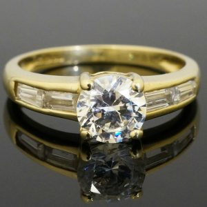 14Ct-Yellow-Gold-Simulated-Diamond-Solitaire-wBaguette-Accents-Ring-Size-M-282098734311