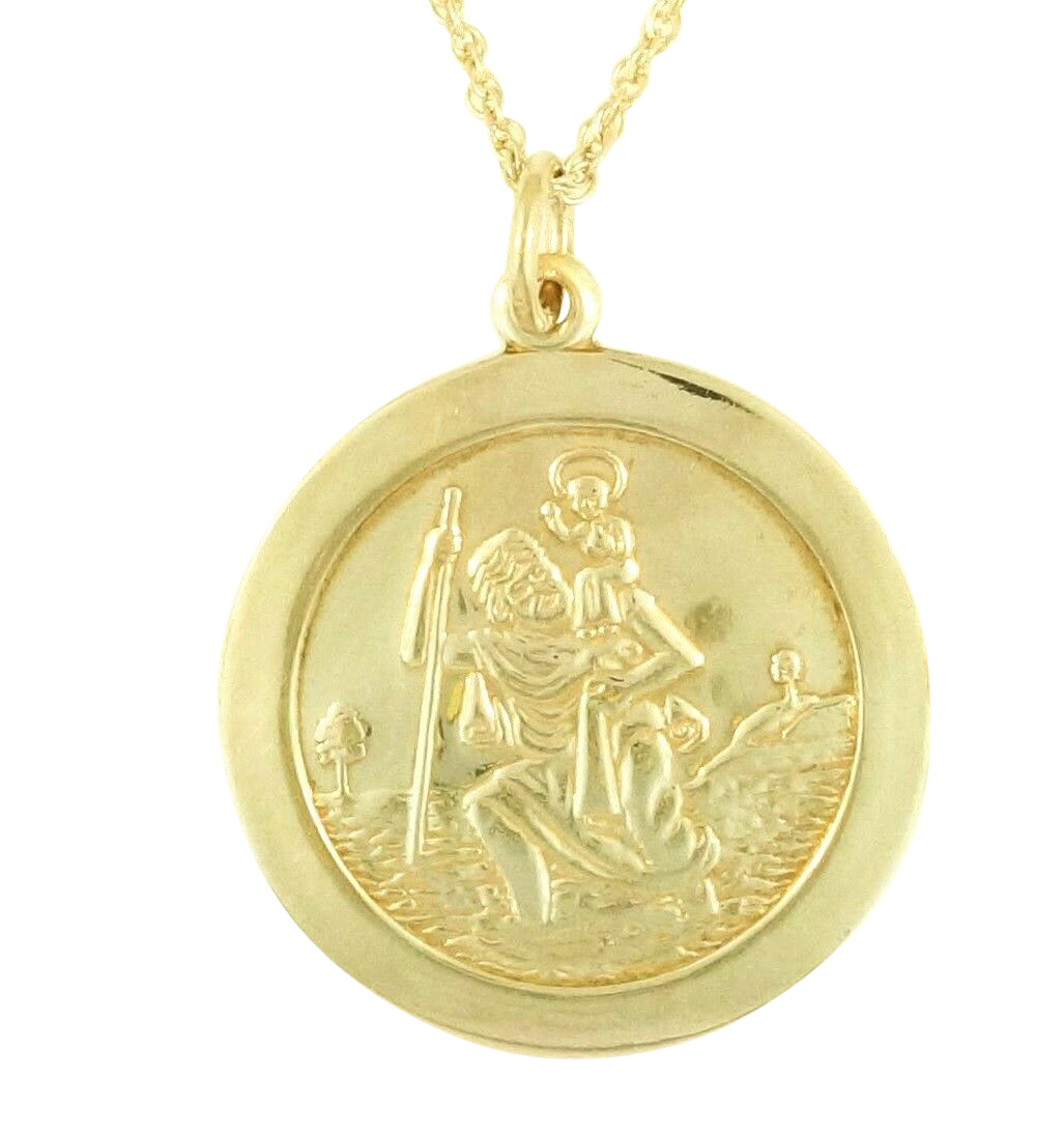 Sterling Silver St Christopher Pendant 23mm W 20 Prince Of Wales