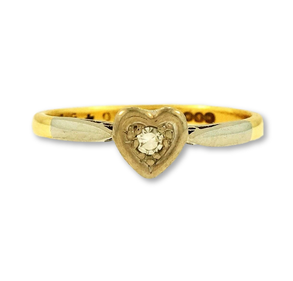 Yellow Gold Diamond Platinum: Antique 18Ct Yellow Gold & Platinum 0.10ct Diamond Heart