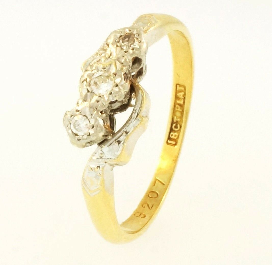 Yellow Gold Diamond Platinum: Antique 18Ct Yellow Gold & Platinum Three-Stone Diamond 0