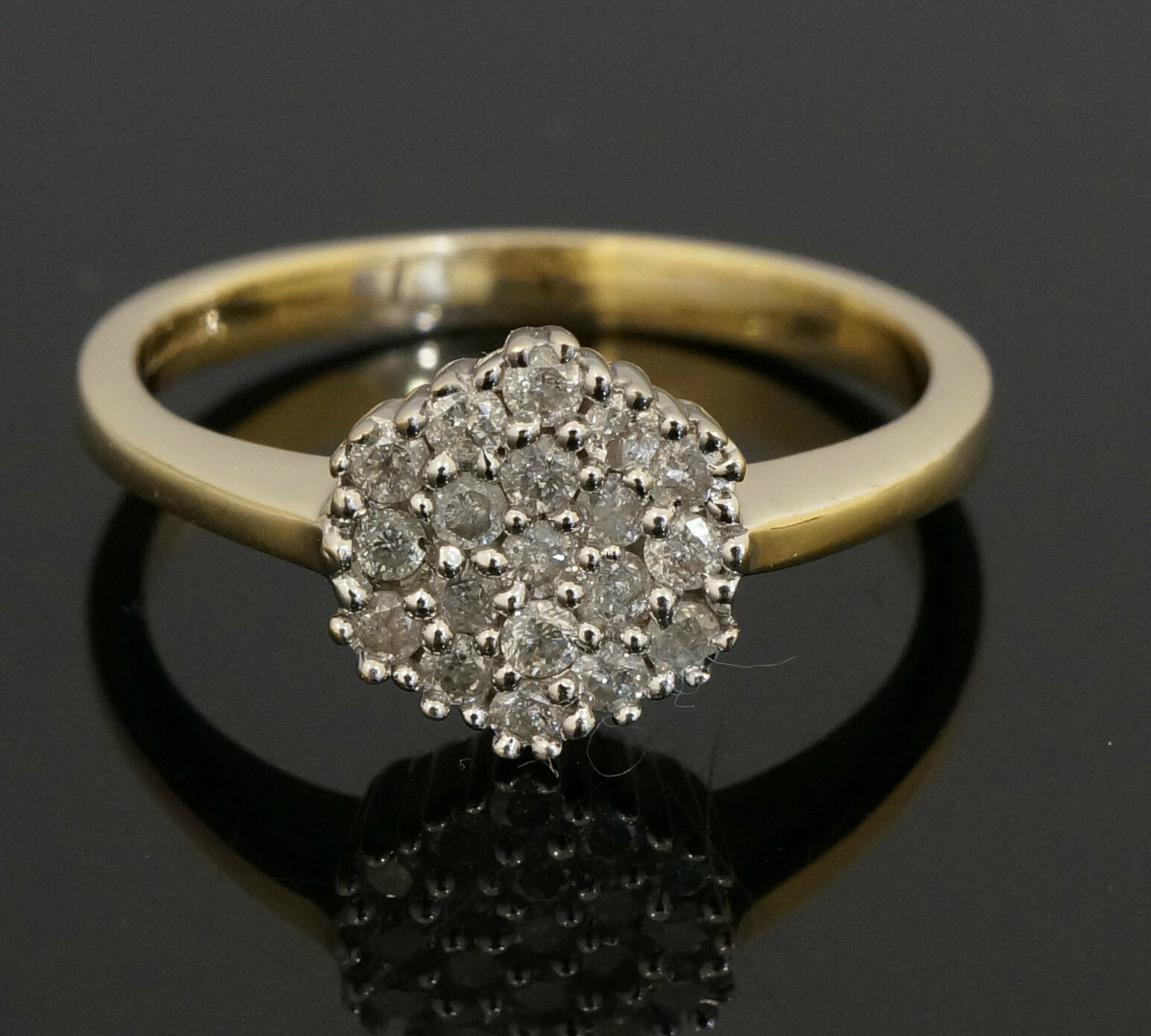 engagement diameter yellow size product diamond rings cluster l carat gold ring