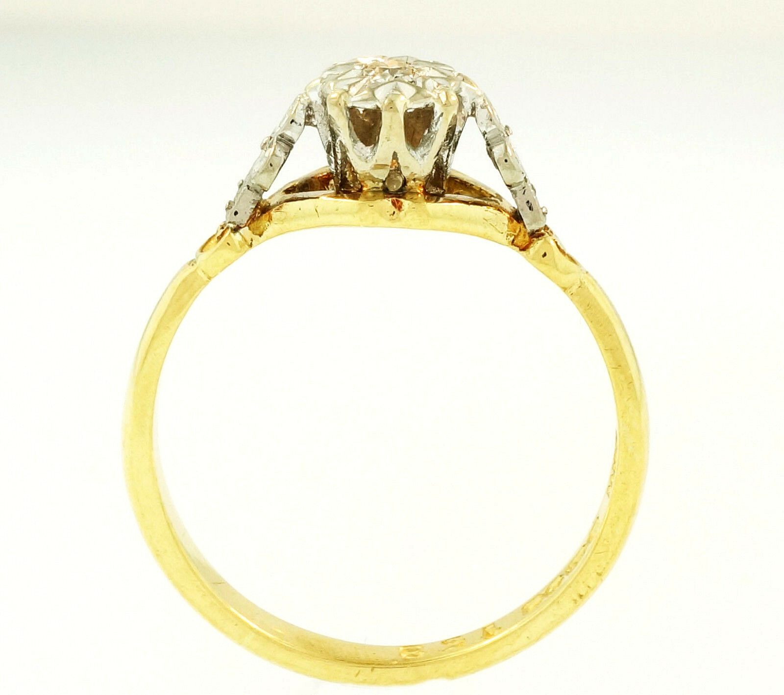 Yellow Gold Diamond Platinum: 18Ct Yellow Gold & Platinum Illusion Set Diamond(0.03ct