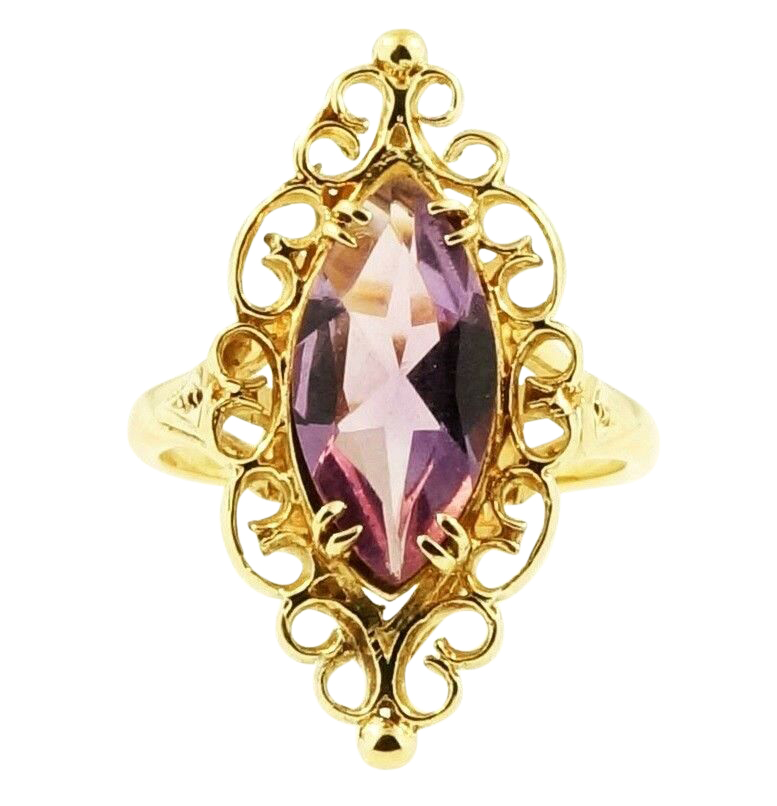 9ct Yellow Gold 1 46ct Marquise Amethyst Celtic Solitaire