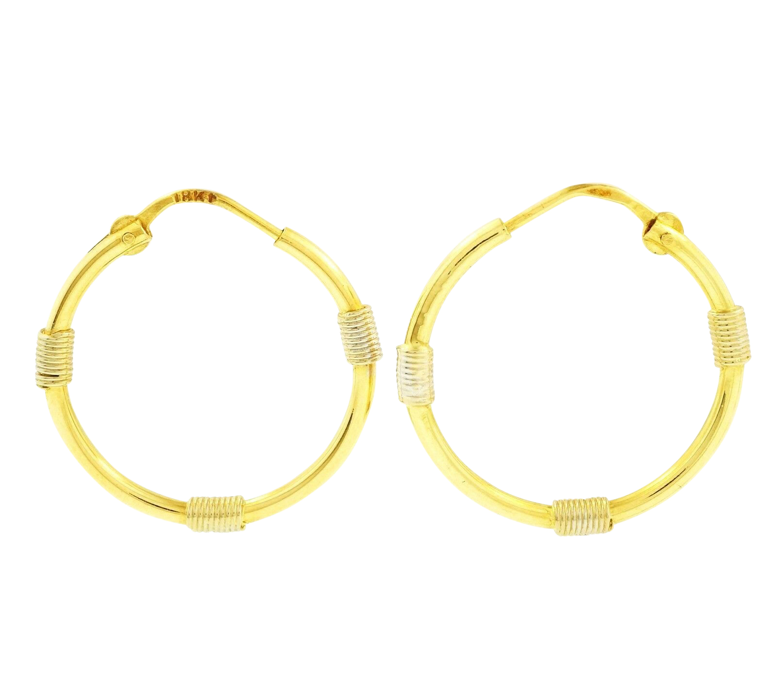 18carat Yellow And White Gold Hoop Earrings 21mm