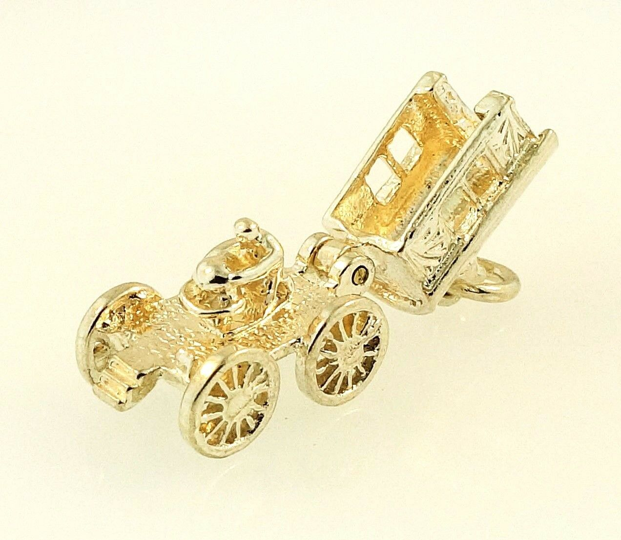 Sterling Silver Openable Wagon Charm W Lady Inside