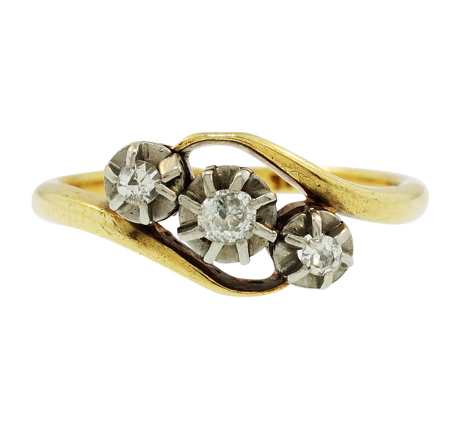 Yellow Gold Diamond Platinum: Vintage 18Ct Yellow Gold & Platinum Diamond (0.10ct) Three