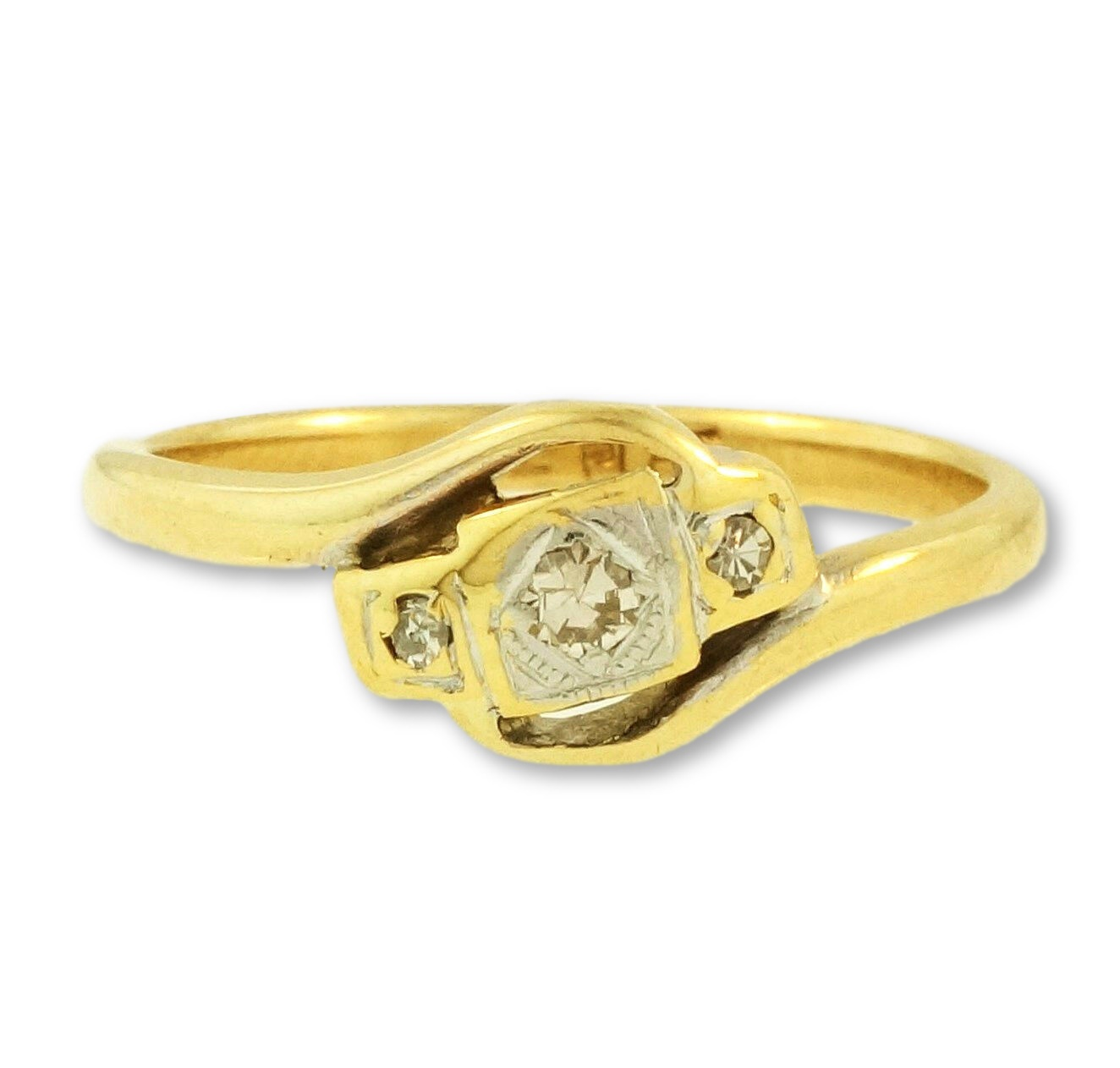 Yellow Gold Diamond Platinum: Vintage 18Ct Yellow Gold & Platinum Diamond Crossover