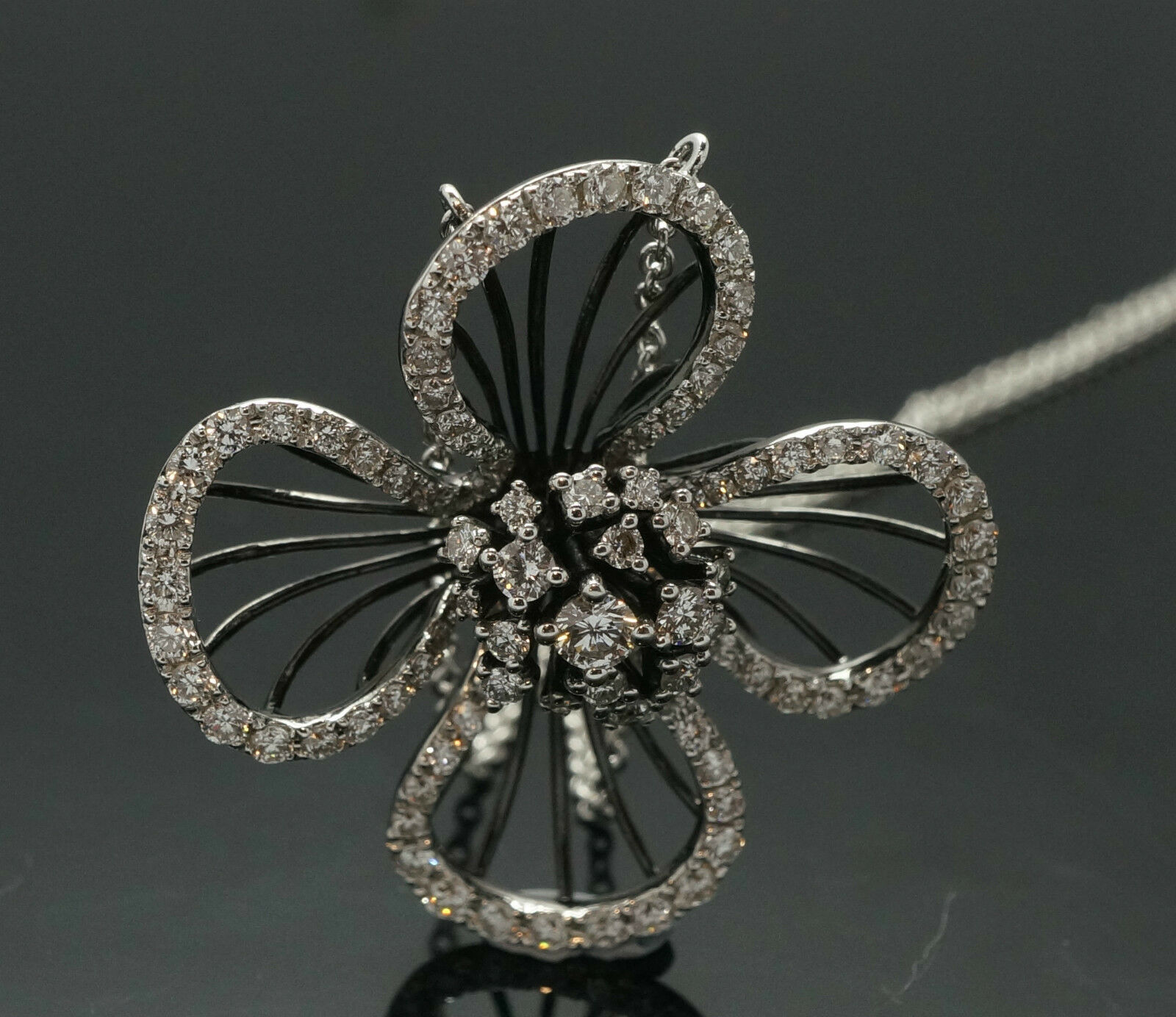 dd15da8d5df3e DAMAS 18ct White Gold Black Rhodium Diamond(1.39ct) Flower Pendant ...
