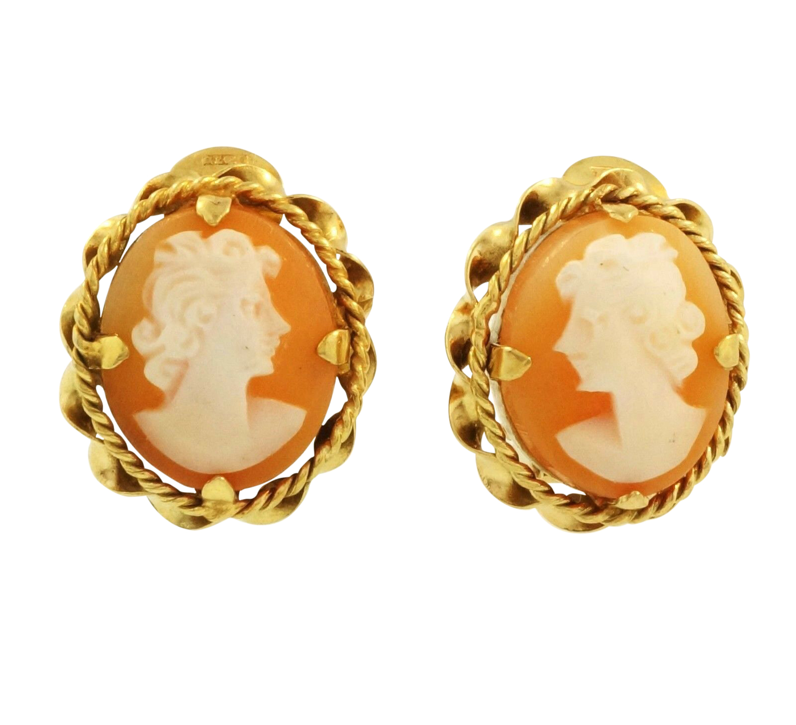 9carat Yellow Gold Oval Cameo Stud Clip On Earrings