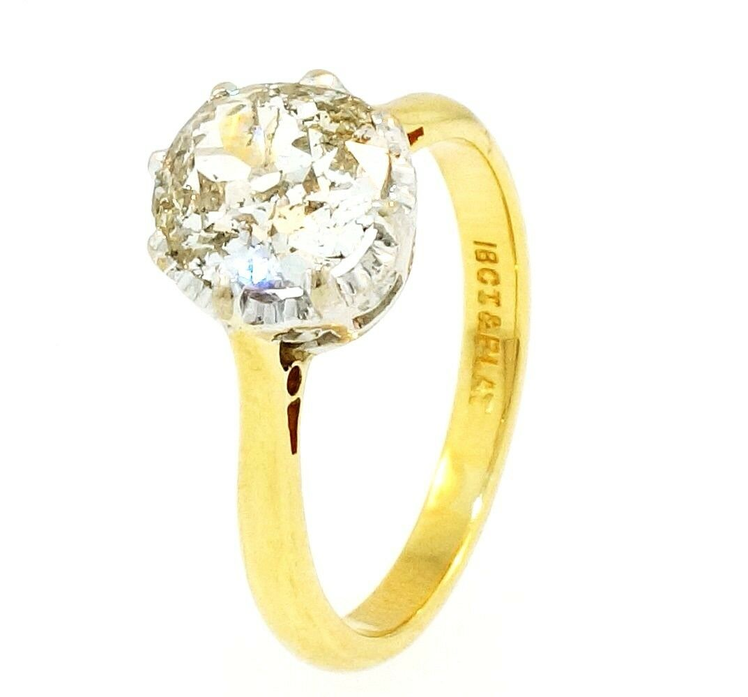 Yellow Gold Diamond Platinum: Antique 18 Yellow Gold & Platinum Old Cut Diamond(1.17ct