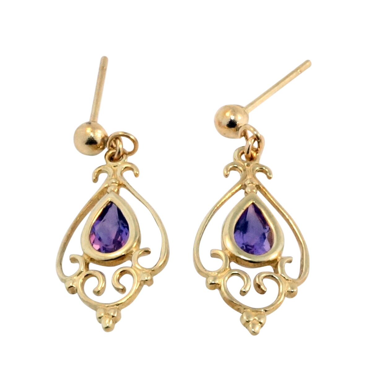 9ct Yellow Gold Celtic Rubover Set Pear Amethyst Drop Stud