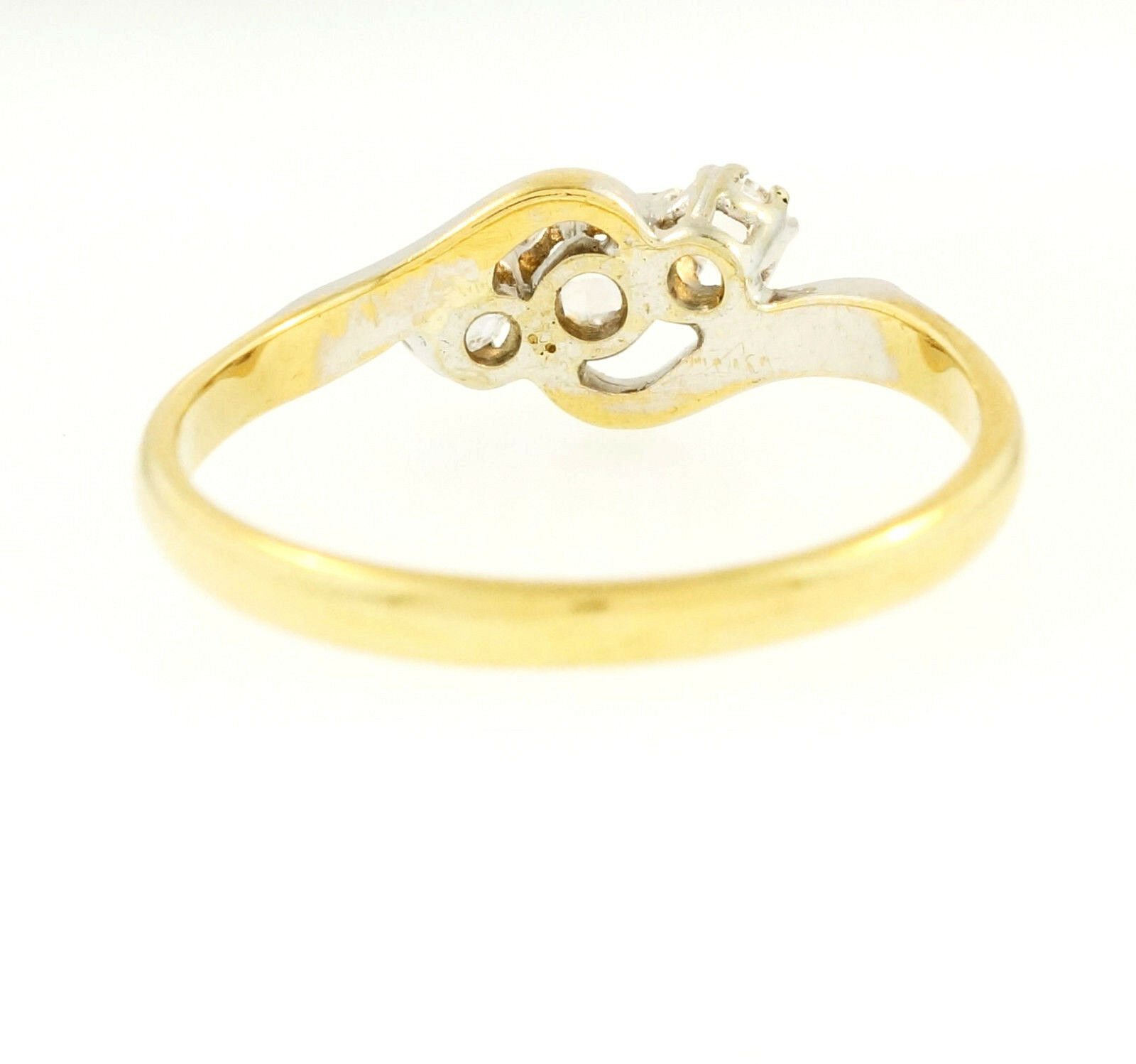 Yellow Gold Diamond Platinum: Antique 18Ct Yellow Gold & Platinum Diamond (0.50ct) Three