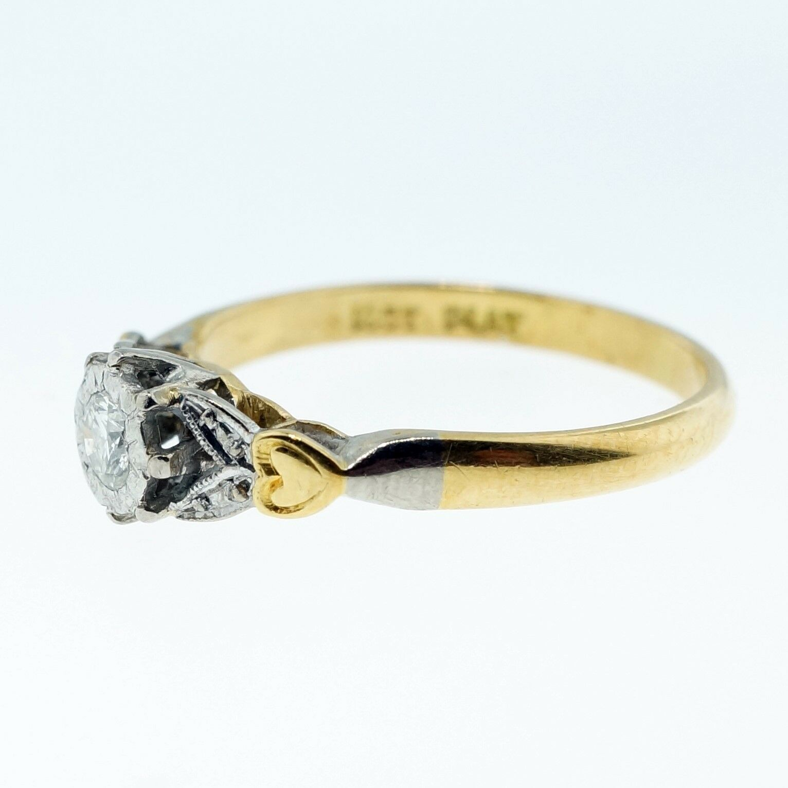 Yellow Gold Diamond Platinum: Vintage 18ct Yellow Gold & Platinum Diamond Solitaire Ring