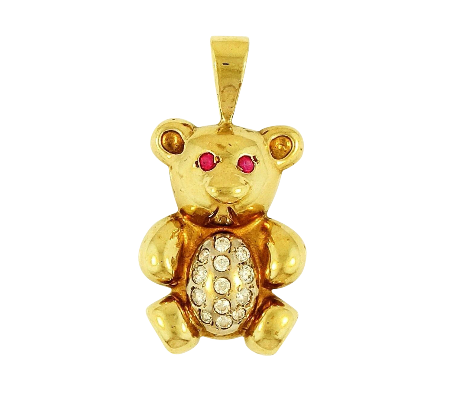 9carat Yellow Gold Simulated Diamond Teddy Bear Pendant