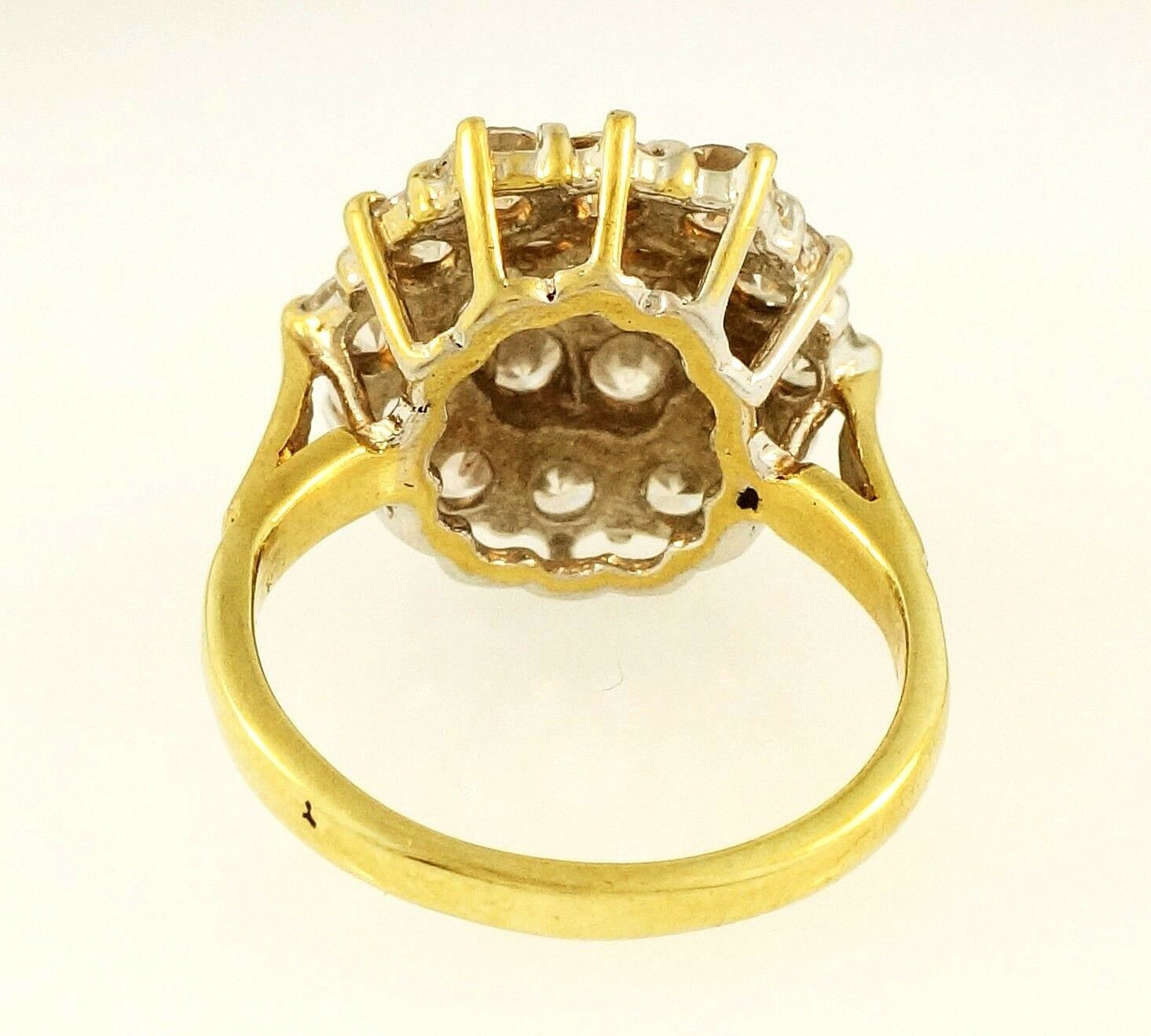 9ct Yellow Gold Simulated Diamond Cluster Ring Size L