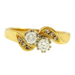 18Ct-Yellow-Gold-Two-Stone-Crossover-025ct-Diamond-Ring-Size-J-12-7mm-Widest-272737522237
