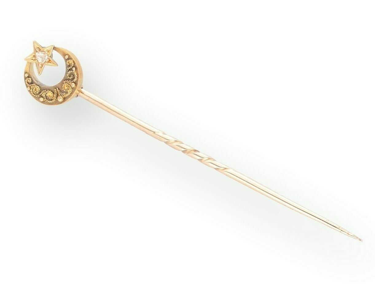 d2bc34bda7e8 Antique 15Ct Yellow Gold Star and Crescent Old Cut Diamond Tie Pin ...