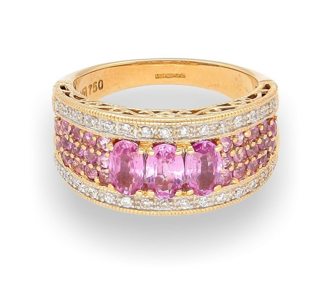 18Carat Yellow Gold Pink Sapphire & Diamond Cluster Ring (Size J ...