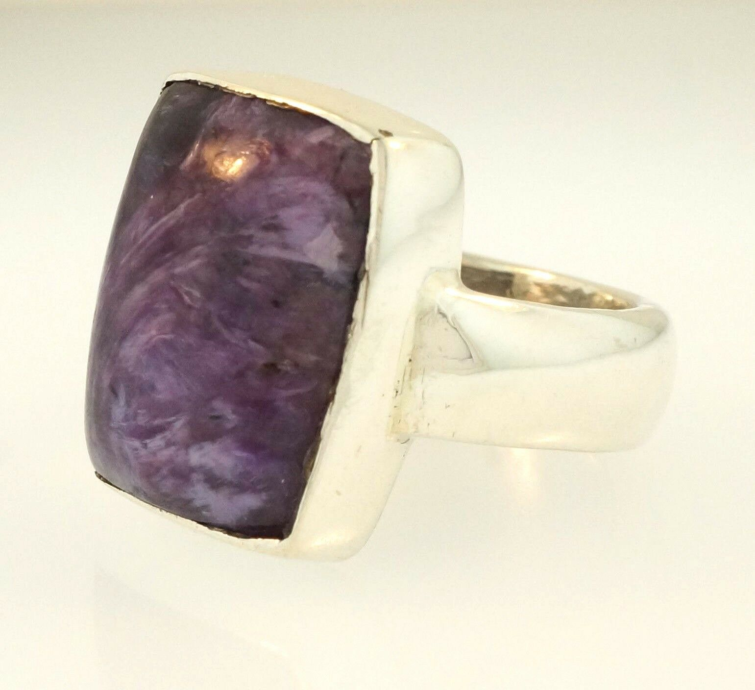 Sterling Silver Purple Stone Solitaire Ring Size M 1 2