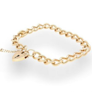 9Ct-Yellow-Gold-8-Round-Curb-Bracelet-Heart-Padlock-Clasp-7mm-Wide-272277311938