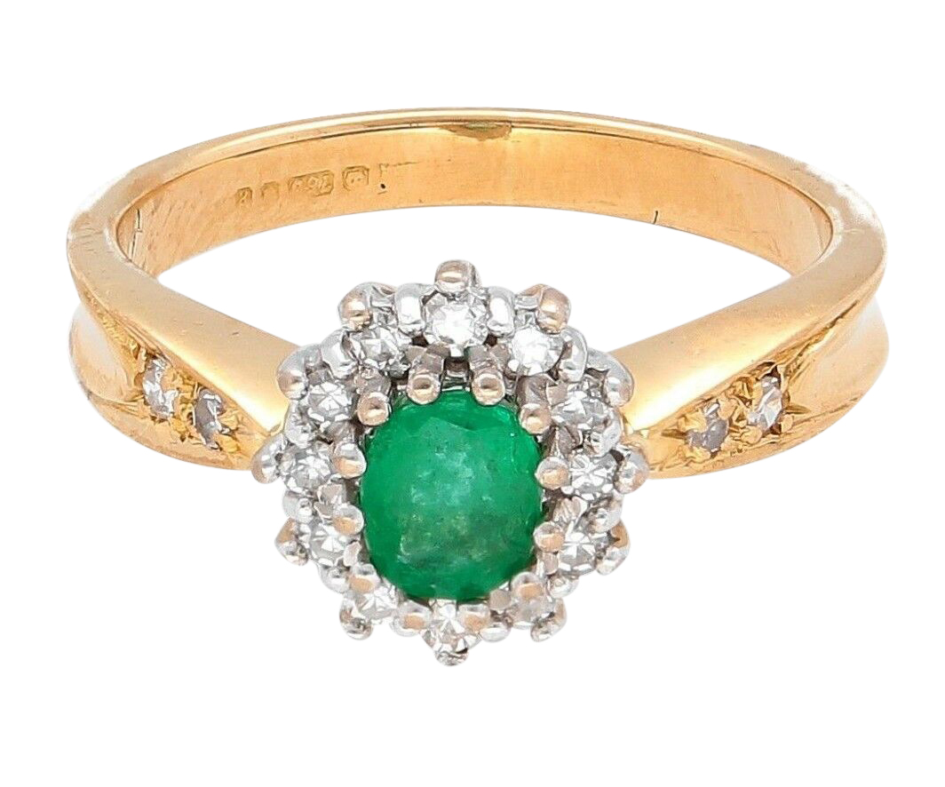 91297ea45 18Ct Yellow Gold Emerald & Diamond Halo Cluster Ring (Size J 1/2 ...