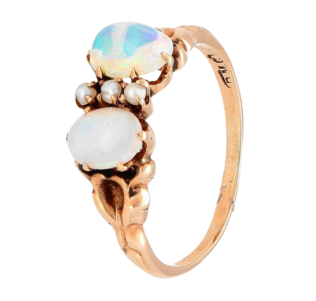 Vintage 18carat Yellow Gold Opal Amp Pearl Dress Ring Size