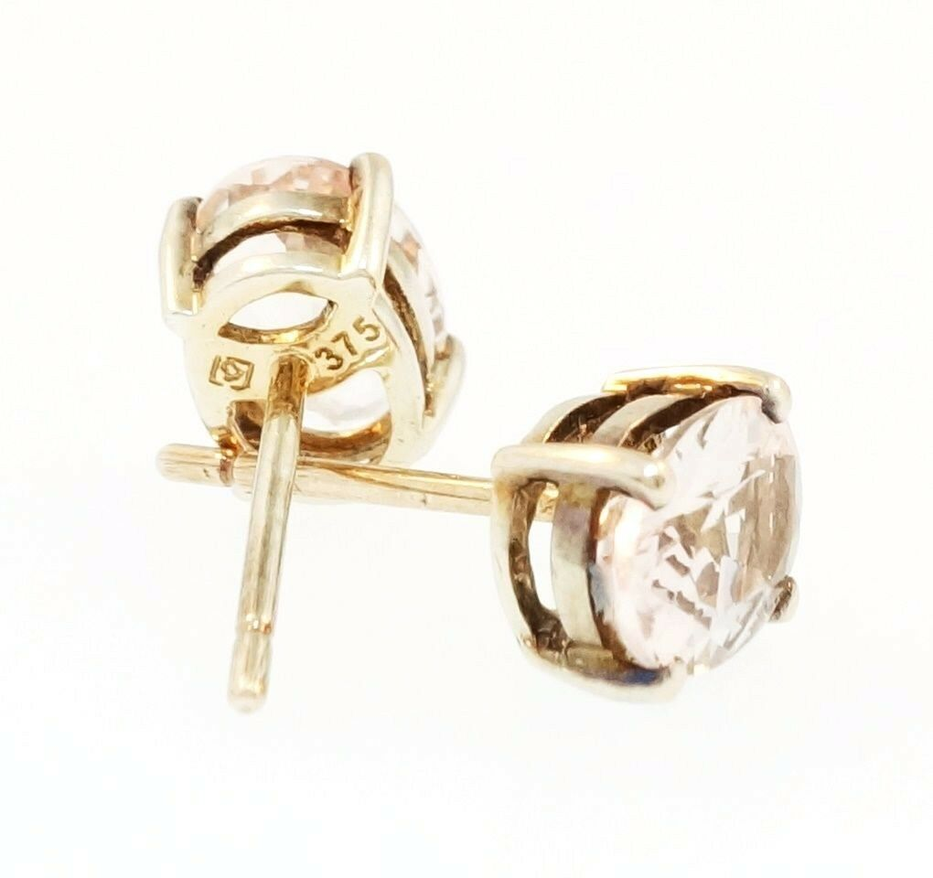 earrings morganite gold stud with in diamonds rose