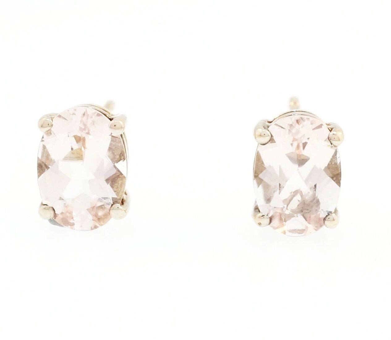 pin surround stud morganite earrings with diamond in gold rose carat