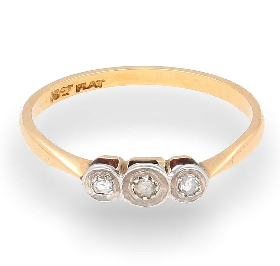 Yellow Gold Diamond Platinum: Vintage 18Carat Yellow Gold & Platinum Three Stone Diamond