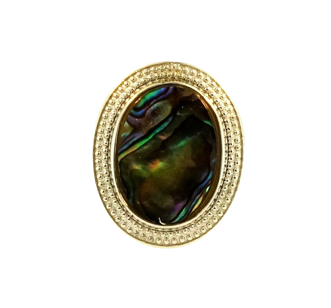 Sterling Silver Abalone Sell Solitaire Ring Size R 1 2