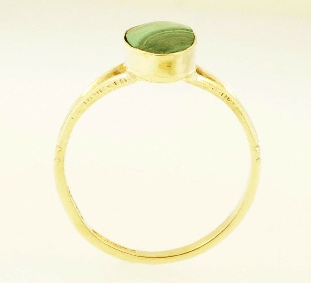 9carat Yellow Gold Malachite Solitaire Ring Size J 1 2
