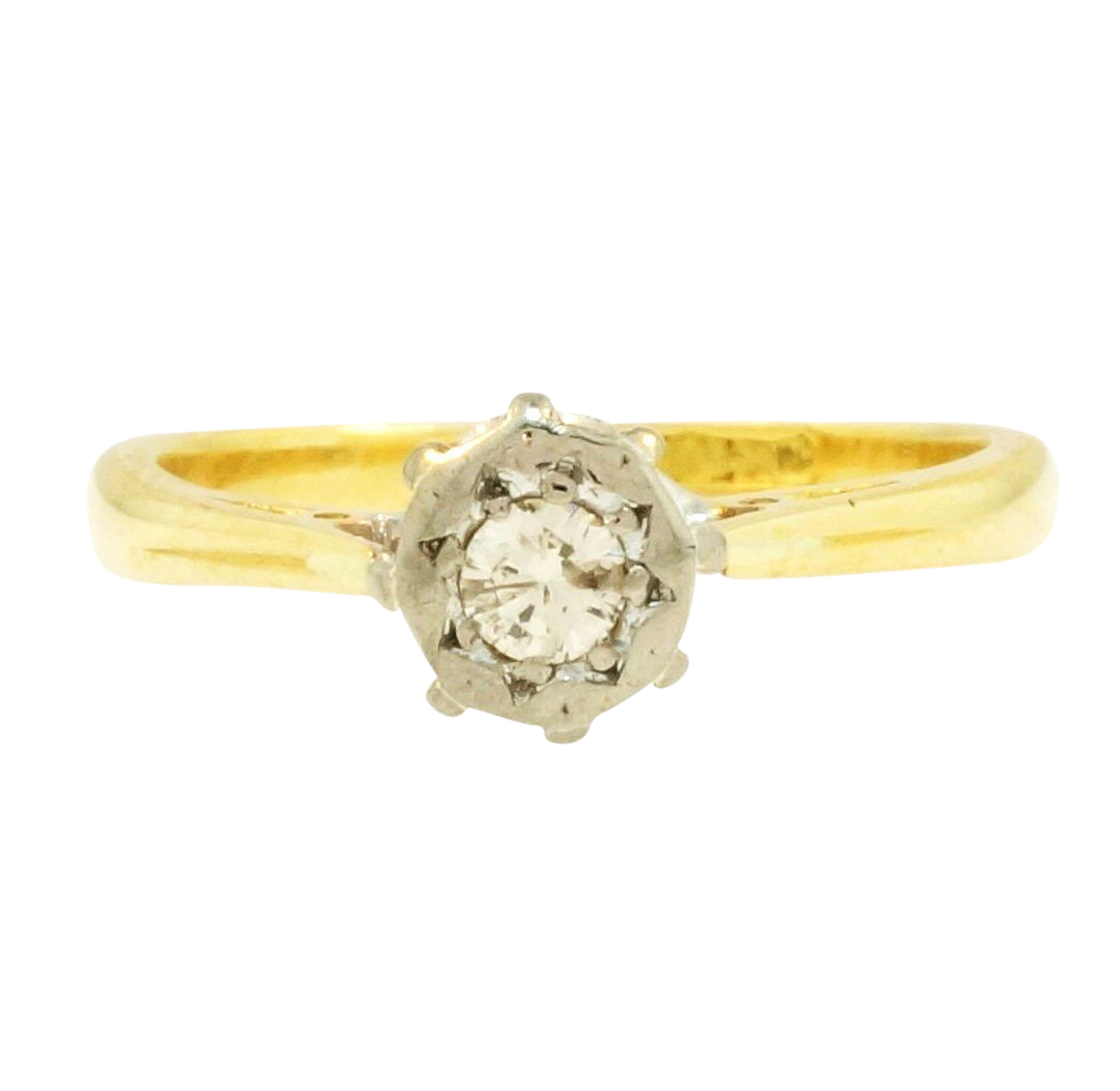 Yellow Gold Diamond Platinum: Antique 18Ct Yellow Gold & Platinum Diamond(0.20ct