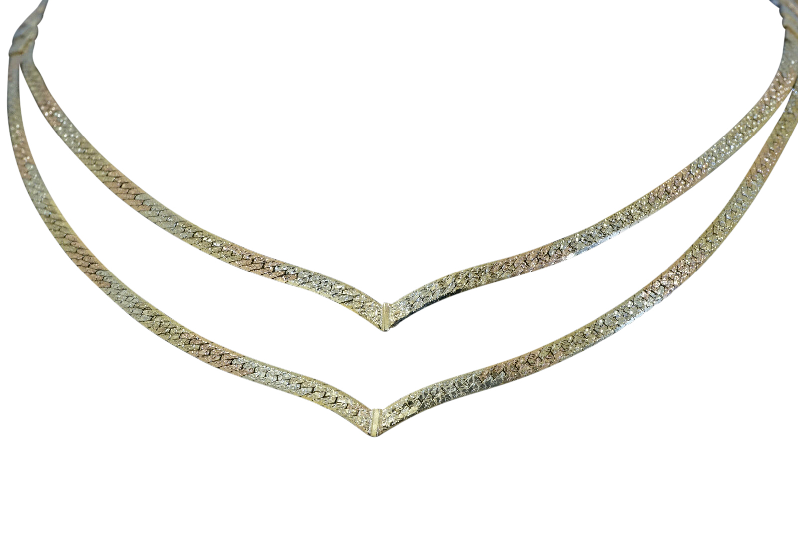 9ct yellow rose white gold 16 flat double wishbone necklace 5mm 9ct yellow rose white gold 16 flat double aloadofball Image collections