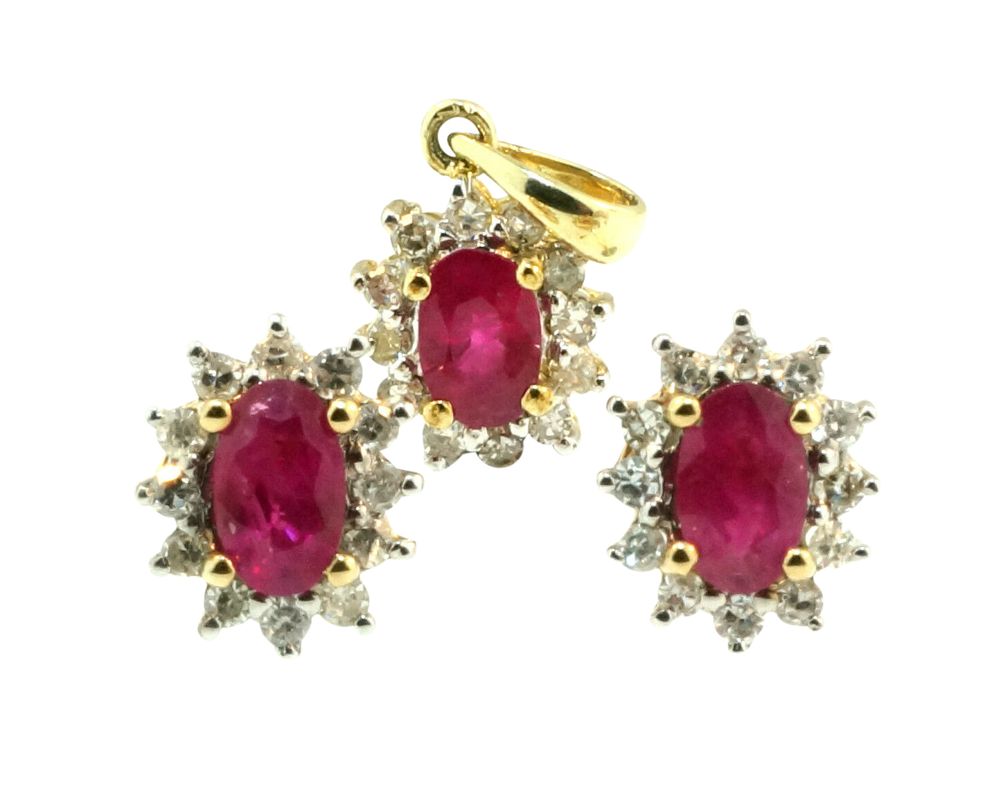 9ct Yellow Gold Oval Ruby Amp Diamond Halo Pendant Amp Earring