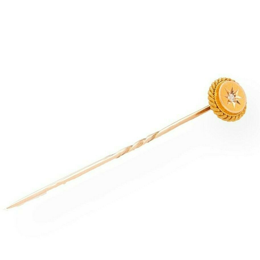 1f5041f7a785 Antique 15Carat Yellow Gold Old Cut Diamond Tie Pin (10mm Diameter ...